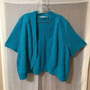 Peter Nygard Plus Size Woven Knit Shrug SZ 3X